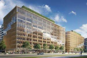 Массивная деревянная офисная башня T3 Bayside начинает подниматься