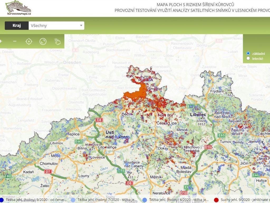 Чехия: обновлена карта короедного усыхания по стране