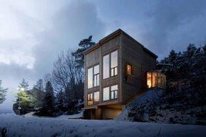 Бюро Rever & Drage Architects представило современный бревенчатый дом в Норвегии