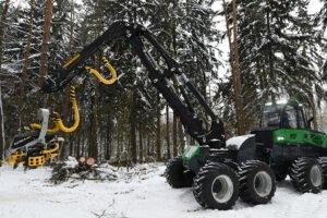 Новый харвестер «АМКОДОР» проходит испытания в лесу